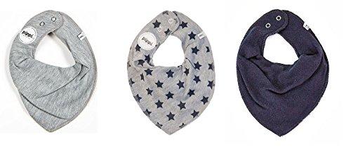 Pippi 3er Set Baby Dreieckstuch Halstuch Lätzchen uni grau / grau mit STERNE navy / uni navy