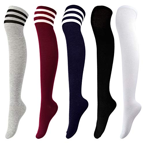 Aneco 5 Pairs Over Knee Thigh Socks High Thigh Women Stockings Over Knee-High Sock High Boot Thigh Socks for Cosplay, Daily Wear]()