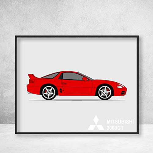 (Mitsubishi 3000GT (GTO) (1990-2000) Poster Print Wall Art Decor Handmade (Dodge Stealth))