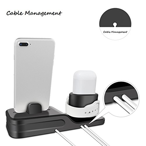 KEHANGDA 3 in 1 Charging Stand for iPhone AirPods Apple Watch Charger Dock Station Silicone,Support for Apple Watch Series 3/2/1/AirPods/iPhone X/8/8 Plus/7/7 Plus/6s Black by KEHANGDA (Image #5)