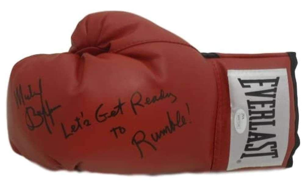 Michael Buffer Autographed/Signed Red Boxing Glove Get Ready To Rumble 14552 JSA Certified Autographed Boxing Gloves