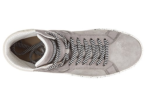 Hogan Rebel Baskets Montantes Pour Hommes En Cuir Chaussures Rebel R141 Gris