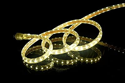 CBConcept® 30 Feet 120 Volt High Output LED SMD5050 Flexible Flat LED Strip Rope Light - [Christmas Lighting, Indoor / Outdoor rope lighting, Ceiling Light, kitchen Lighting] [Dimmable] [Ready to use] [7/16 Inch Width X 5/16 Inch Thickness]
