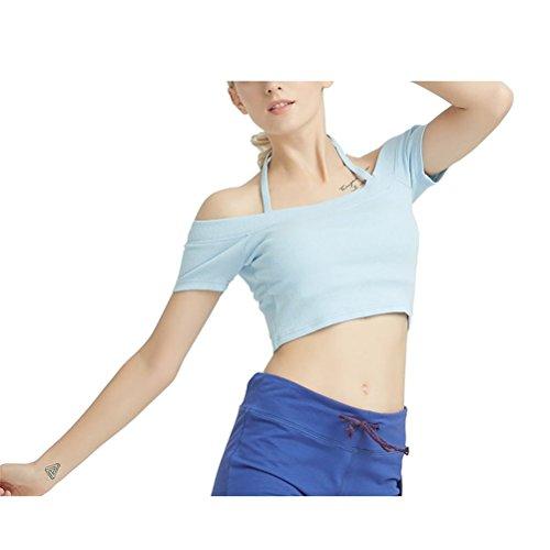 Tirantes Yisaesa Cielo L Mangas Hombro Fuera Azul color Con Azul Camiseta Barco Delgados Tamaño Cuello Del Sin qUIrwUR
