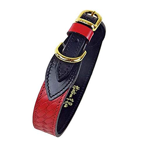 Hartman & Rose 546 Leather Dog Collar with Basketweave Design - Classic Collection Dog Collar Cherry Red, Medium