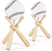 Baseball Stand Wooden Softball Display Holder with Mini Baseball Bat Racks Ring 4PCS