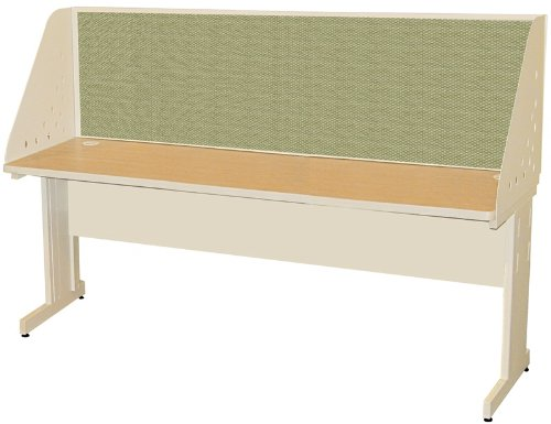 Pronto Pronto School Training Table with Carrel and Modesty Panel Back, 72W x 24D - Putty Finish and Peridot Fabric - Back Study Carrel