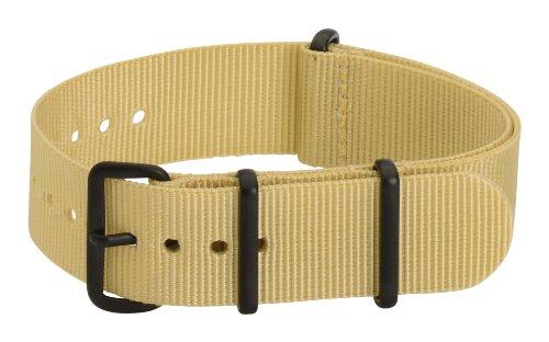 Clockwork Synergy Premium Nylon Nato Watch Straps bands PVD Black Hardware (18mm, Khaki)
