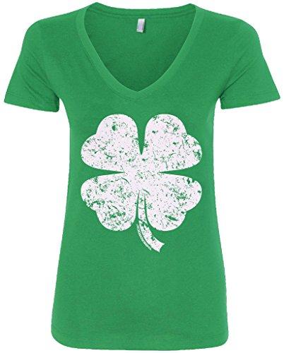 Threadrock Women's Distressed Four Leaf Clover V-Neck T-Shirt M Kelly Green