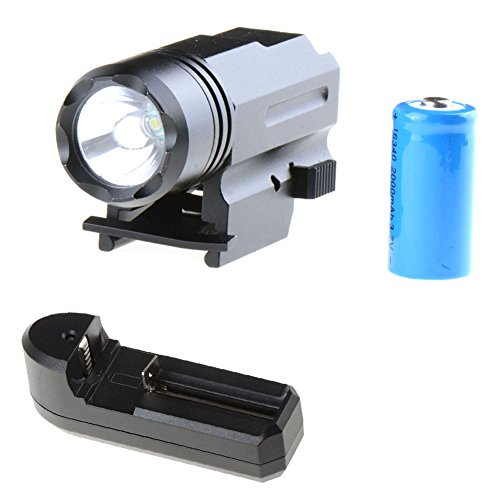 Asdomo 1000LM LED Rifle Mount Hog Hunting Tactical Light Torch Shotgun Flashlight Camping Lantern HAIST (with US Charger)