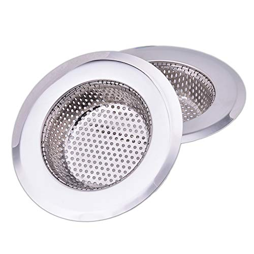- CORNERJOY 4.5 Inch Diameter Rim Heavy Duty Stainless Steel Kitchen Sink Basket Strainer, Large (Pack of 2)