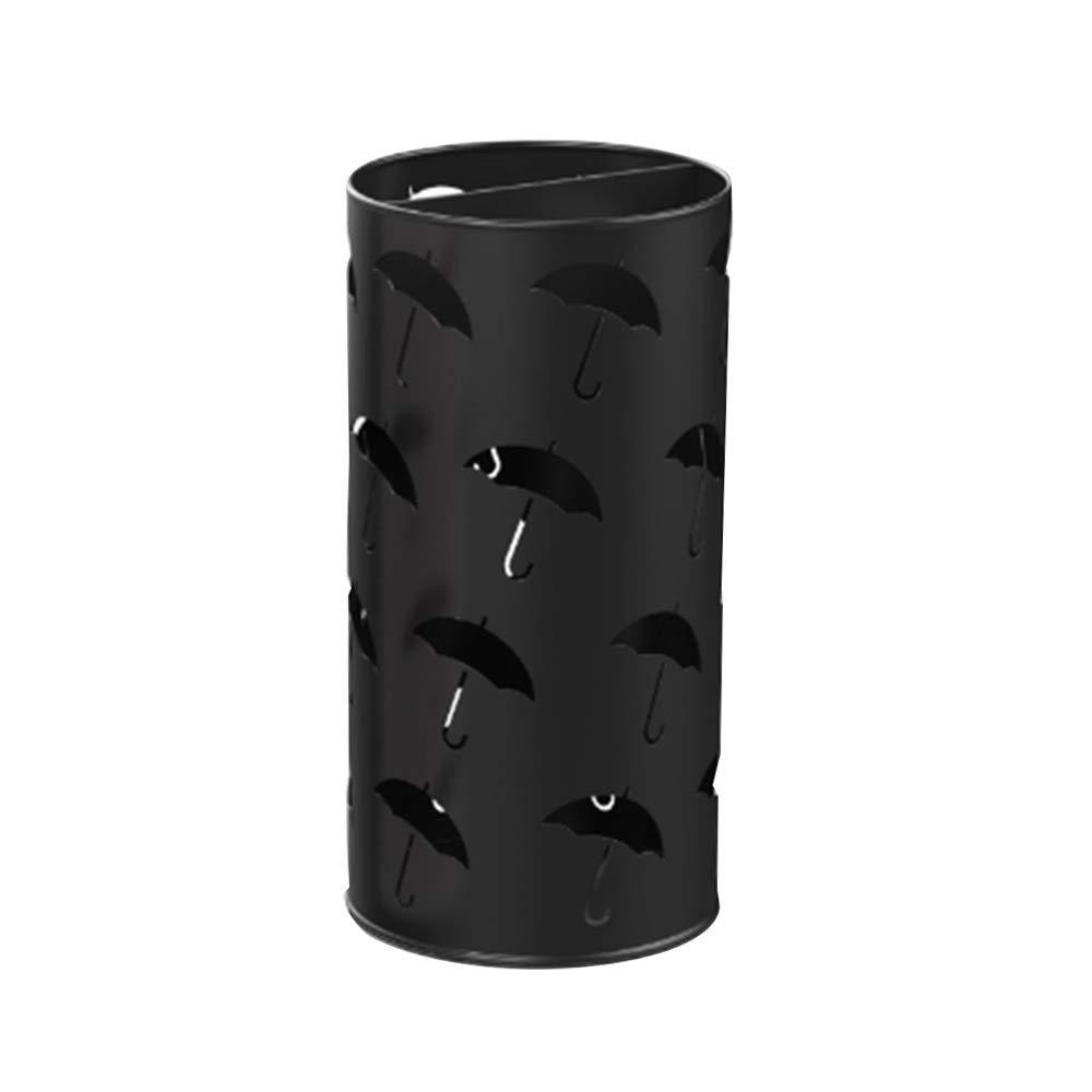 Black MYQ Umbrella Stand, Floor-Standing Wrought Iron Multi-Function Umbrella Storage Rack for Hotel Lobby Office 3 colors Hallway Umbrella Stand (color   Black)
