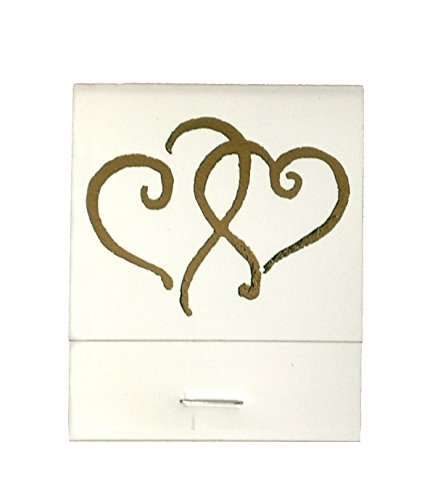 50 White Matches Printed Hearts in Metallic Gold Matchbooks Wedding, Anniversary, Birthday, Party, Your Choice of Color of -