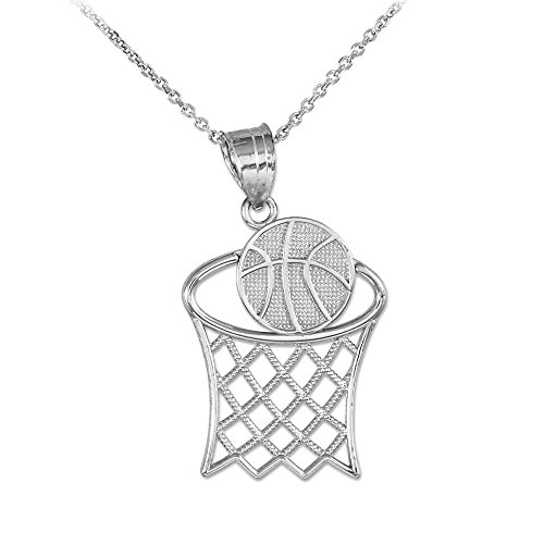 Sports Charms 925 Sterling Silver Basketball Hoop Pendant Necklace, 16