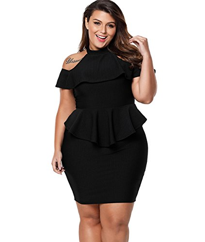 (Lalagen Women's Plus Size Cold Shoulder Peplum Dress Bodycon Party Dress Black XXL)