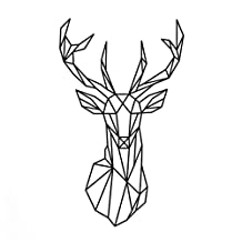 Geometric Deer Head Wall Sticker - SODIAL(R)Design Geometric Deer Head Wall Sticker Decals 3D Wall Art Custom Home Decor Size 51x86 cm£¨Black£©