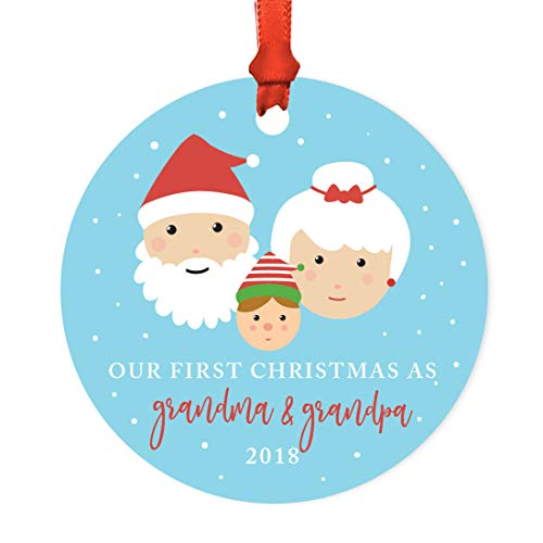 Andaz Press Family Round Metal Christmas Ornament, Our First Christmas As Grandma and Grandpa 2018, Santa and Mrs. Claus with Elf, 1-Pack, Includes Ribbon and Gift Bag -  APP12121