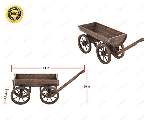 LIBYOU-4 Wheeled Planter.Garden Planter.Antique Wagon Flower Stand.Outdoor Plant Stand.Rolling Wheels Patio Planter.Herbs Planter for Garden.Fir Wood Wagon for Flowers.Wagon cart Stand for Garden.