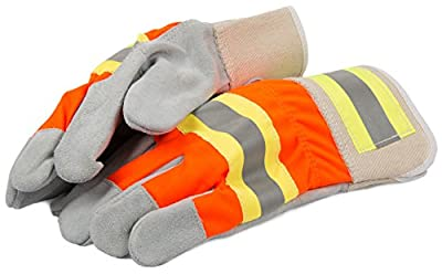 Forney 53194 Cowhide Leather Palm High Visibility, Large, Orange and Grey
