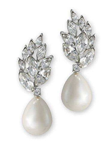 Kenneth Jay Lane Pearl Teardrop Crystal Cluster Top Pierced Earring