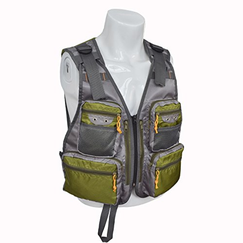 MDSTOP Fly Fishing Vest, Pockets Jacket, Outdoor Quick-Dry Net Vest, Fishing Hunting Waistcoat, Travel Photography Mesh Vest, Adjustable Size with 14 Pockets