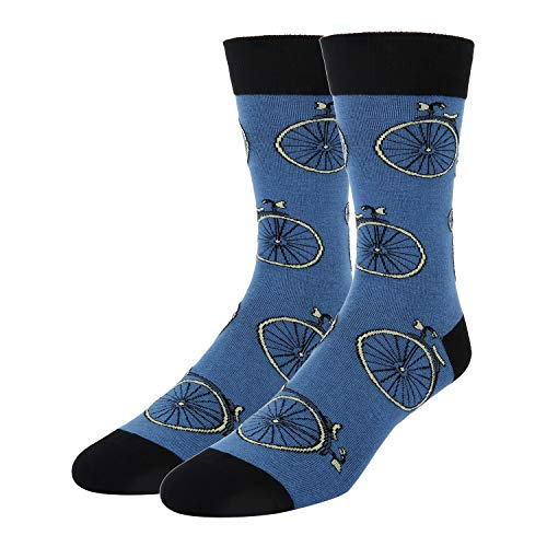 Novelty Bike Cycle Crew Socks in Blue Crazy Funny Bicycle Patterned Dress Socks for Men