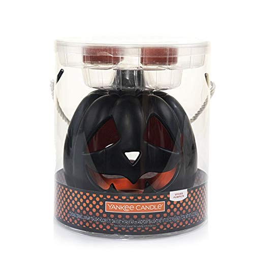 Yankee Candle All Hallows Eve Black Pumpkin Ceramic Luminary Tea Light Holder Set -