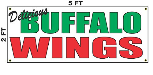 Delicious Buffalo Wings Banner Sign 2X5 for Restaurant Stand or Food Truck Chicken