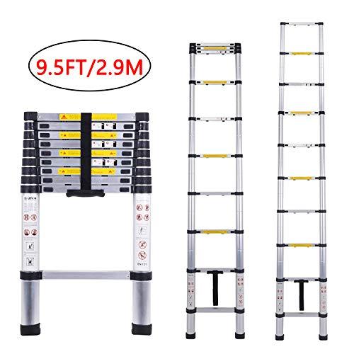 Extension Ladder Aluminum Telescoping Ladders Extend and Climb Ladder EN131 Standard One-Button Retraction New Design(2.9M/9.5Ft) -