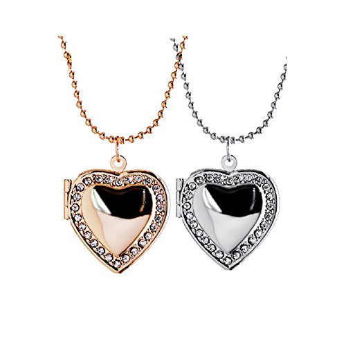 Love Heart Rose Gold and Silver Locket Necklace Pendant Clear CZ for Women Girl Holds Picture Jewelry Christmas (Best Friends Lockets)