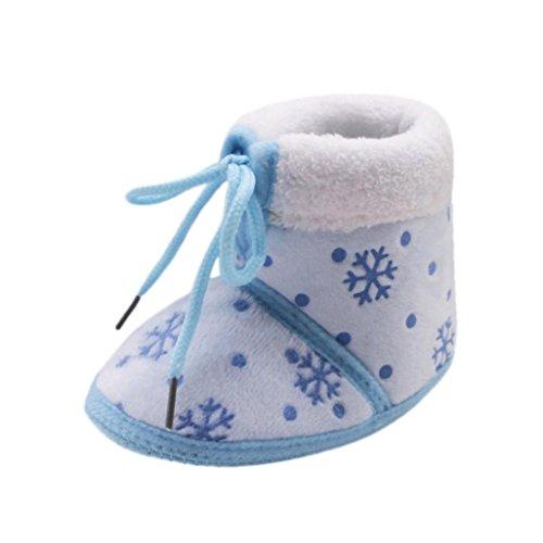 Baby Stiefel,Chshe Kleinkind Neugeborene Weihnachtsbaby-Schnee-Druck-weiche alleinige Aufladungen Prewalker-warme Schuhe Blau