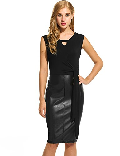 ANGVNS Sleeveless Patchwork Tie Front Bodycon