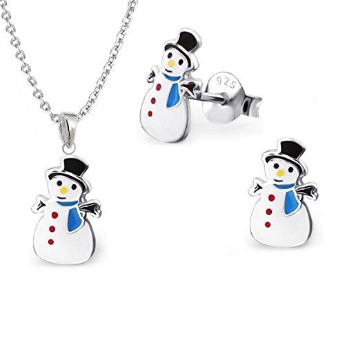 gh1a Muñeco de nieve Pendientes + Collar + colgante 925plata auténtica Niños niña pendientes regalo Idea Set