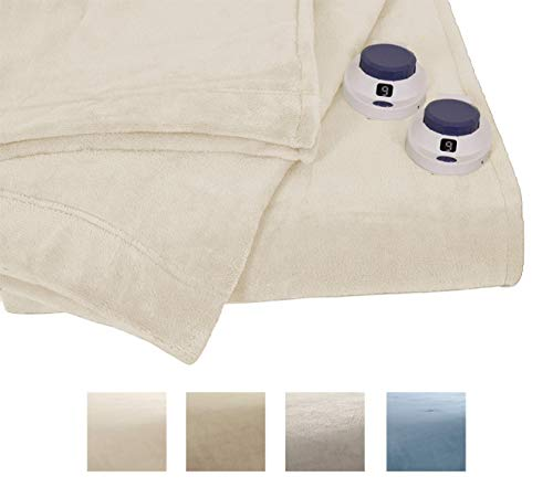 Serta | Luxe Plush Fleece Heated Electric Throw with Safe & Warm Low-Voltage Technology Twin Cloud