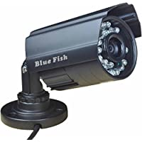 BlueFishCam Home Surveillance Systems Wide Angle CCTV Camera Lens 3.6mm CMOS 1000TVL With IR-CUT(double filter) 24 LED Infrared Color Waterproof Day/night Vision With Free Power Supply