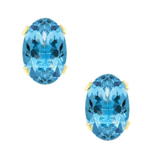 Gem Stone King 1.00 Ct Vs Oval Blue Topaz 14K Yellow Gold Stud Earrings 6X4mm