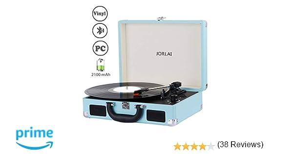 JORLAI Tocadiscos Velocidad 33/45/78 con Bluetooth, Batería de Vinilo Incorporada, Grabación para PC, Auriculares de 3.5 mm y Entrada de AUX, Salida ...