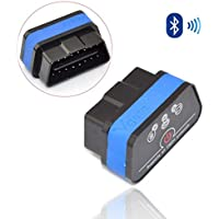 iKKEGOL iCar 2 Mini OBD2 II Bluetooth Car Diagnostic Scanner Torque Android(Black with Blue strip)
