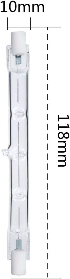regulable Foco hal/ógeno lineal Comyan 300W R7s equivalente 4650lm 2700K J118 Bombilla de seguridad 118mm Longitud 4Pack