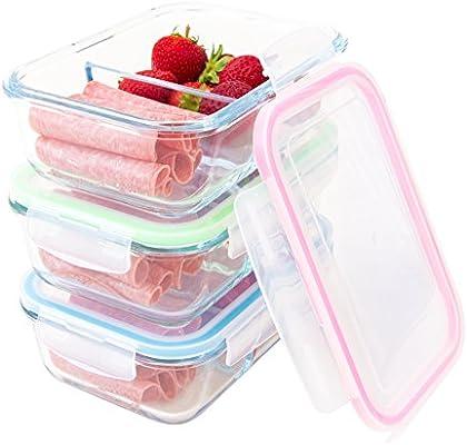 Elacra cristal recipientes de almacenamiento de alimentos – 2 ...
