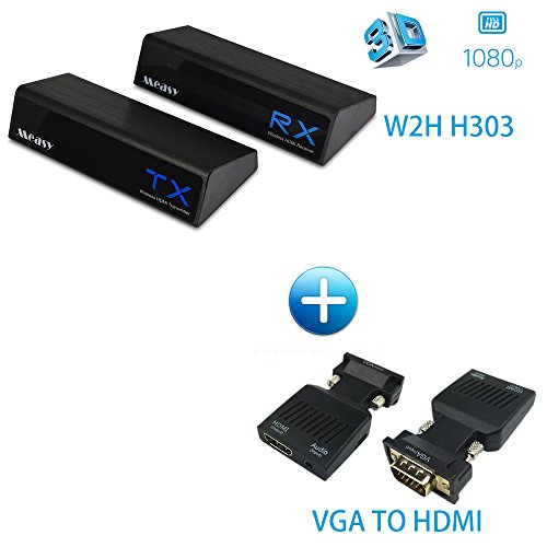 Wireless HDMI Sender Plug and Play support Full HD 3D up to 30m / 100Feet (W2H H303 + VGA TO HDMI)
