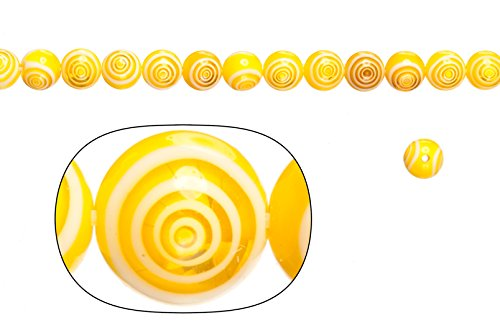 Glass beads, cream white base with yellow stripes, 8mm round. sold per 36cm string - 8mm Round Venetian Lampwork Bead
