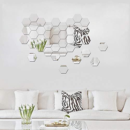 ATFUNSHOP Hexagon Mirror Wall Stickers 12 PCS 5inch - Removable Acrylic Mirror Wall Decor DIY Modern Decoration ()