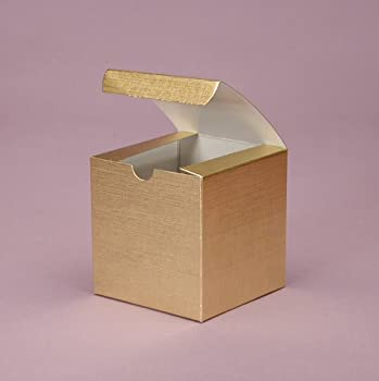 3in. x 3in. x 3in. Gold Linen Foil Square Boxes - Pack of 25