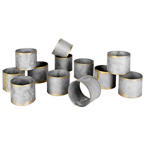 (Koyal Wholesale Galvanized Metal Napkin Rings, Bulk Set of 12 Napkin Holders, Farmhouse Style Napkin Ring Metal Bands for Wedding, Thanksgiving, Christmas, Restaurant and Home Table)
