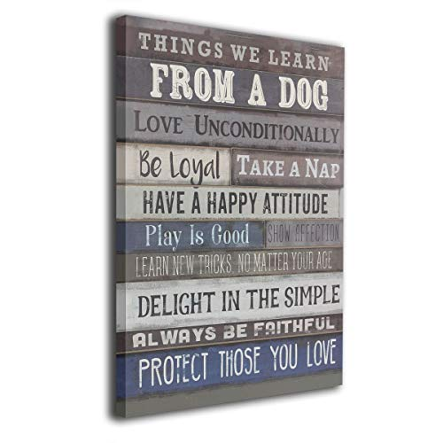 "Houstonman Things We Learn from A Dog Framed and Stretched Giclee Canvas Wall Art Prints for Wall Decor 16"" X 20"" (Things We Learn from A Dog, 16"" x 20"") from Houstonman"