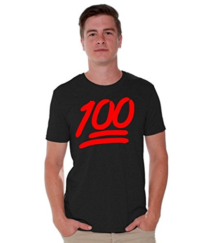 Awkwardstyles 100 Emoji Red Logo T-shirt Funny Cool Gift Shirt + Bookmark L Black