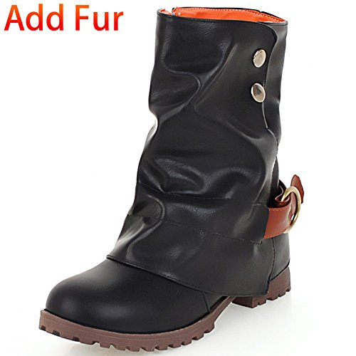 Side Leather Mid Block Chunky Fur Women 4 Buckle Short DoraTasia Slouch Slouchy Calf Concise Black Boots Heel 's 1qwp0xvtX