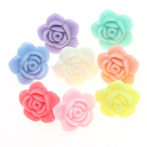 Flower Craft Beads Charms (50pcs 13mm Mixed Colors Small Rose Flower Acrylic Loose Beads Charms Craft Jewelry Making Findings DIY)