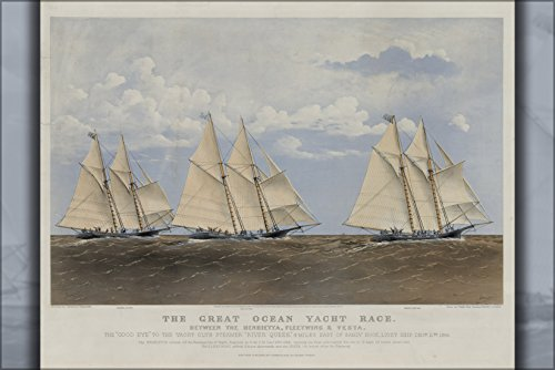24x36 Poster; The Great Ocean Yacht Race Between Henrietta, Fleetwing And Vesta, By Charles Parsons; An 1867 Currier And Ives Lithograph